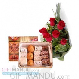 Sweets Assortment and Flower Bunch