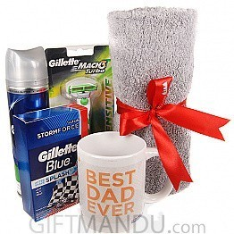 Morning Dad - Gillette's Shaving Kits with Face-Wash Towel and Best Dad Coffee Mug