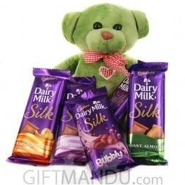 Green Cute Teddy Bear Munching on 5 Cadbury Dairy Milk Silk Bars