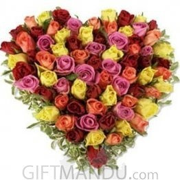 Flowers Speak Love (Fresh Mix Color Roses Arranged on Heart Bamboo Basket)