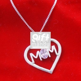 Mom Heart Silver Pendant - Pink Zircon Stone (With Silver Necklace Included)