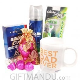 Gillette's Shaving Kits with Chocolate and Best Dad Coffee Mug (5 Items)