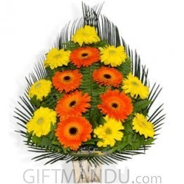 Yellow Orange Gerbera Basket