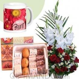 Roses Glad Love Basket, Assorted Mithai and Mother's Day Mug