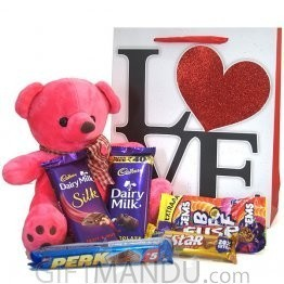 Pink Teddy Loving Chocolates - Sweetheart Treats