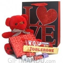 Romantic Love - Red Teddy, Gourmet Chocolates Bag