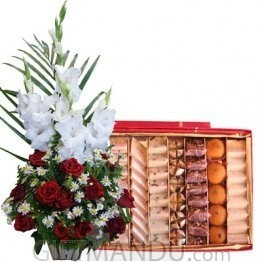 Roses Glad Love Basket with Assorted Mithai Big Box