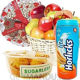 Sugar Free Laddoo, Horlicks, Dry Nuts Tray And Fruit Basket