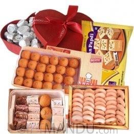 Assorted Mithai, Peda, Laddoo, Chocolates Heart Box and Soan Papdi (5 items)