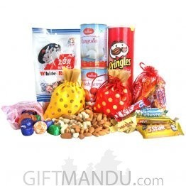 Bags Full Of Dry Nuts With Chocolates, Sweets And Pringles