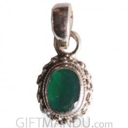 Silver Pendant - Dark Green Onyx Stone
