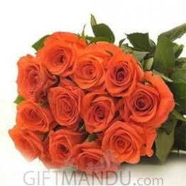 One Dozen Orange Roses Bunch