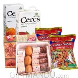 Assorted Mithai, Two Ceres Juice and Tong Garden Nuts