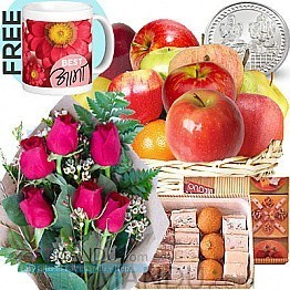 Fruit Basket, Mithai, Flower and Silver Coin 5g (Free Mug)