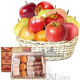 Fruits Round Basket with Assorted Mithai Sweets