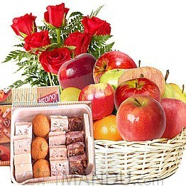 Assorted Mithai, Fruits Round Basket with Flower