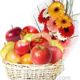 Fruit Round Basket and Dozen Gerbera Flower Bright Bouquet