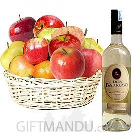 Assorted Fruit Basket with Sweet Summer Wine