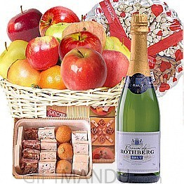 Sparkling French Wine, Fruit Basket, Assorted Mithai and Dry Nuts
