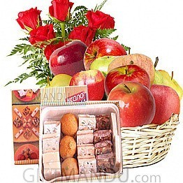 Assorted Mithai Box With Fresh Fruit Basket and Flowers