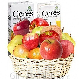 Fruit Round Basket and Two Ceres/Chabaa Fruit Juice