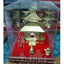 Metal Plated Pashupatinath Temple in Glass Case