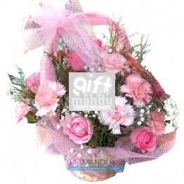 You Are My Beautiful Garden - Pink Flowers Basket