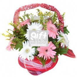 Pink and White Gerbera Lovley Flower Basket