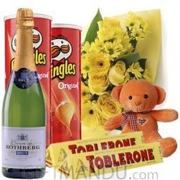 Pop & Celebrate - Sparkling Wine, Teddy Bear, Yellow Flowers, Pringles and Toblerone