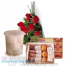 Sweets Assortment and Flower Bunch (Rasbari)