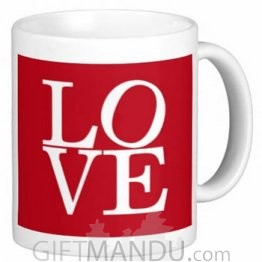 Valentine Love Mug With Personalized Message Print (Red Love)