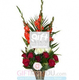 Red Pink White Roses Gladious Basket