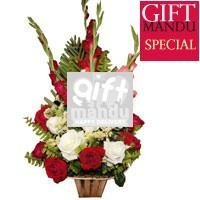 Love basket - Red and White Roses with Glads