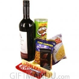 Red Sweet Wine and Party Snacks Combo with Chocolates (7 items)