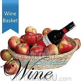 Red Wine Bottle in Apple Basket