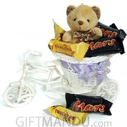 Miniature Dozen Chocolates Filled Rickshaw with Mini Teddy