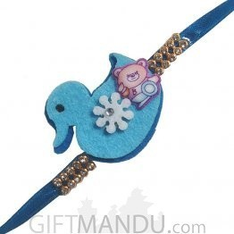Blue Rakhi Thread for Kids (Bird & Teddy)