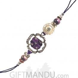 Stone Dubbed Purple Color Kanhaiya Rakhi