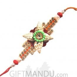 Beautiful Rakhi Thread Decorated With Shells