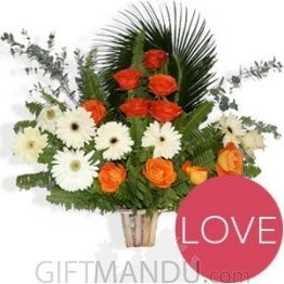 Red Roses and White Gerbera Love Basket