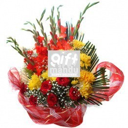 Red Roses Godawari Glad Special Ribbon Basket