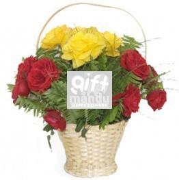 Red Yellow Roses Filler Basket