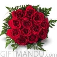 One Dozen Romantic Fresh Red Roses Bunch for Biratnagar