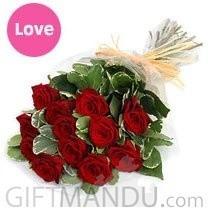 One doz romantic fresh red roses for Biratnagar