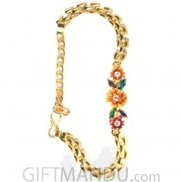 Rakhi Chain Bracelet - Plated Light Metal