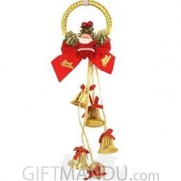 Christmas Tree Decoration - Santa Hanging Golden Bells