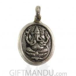 Sterling Silver Ganapati Embroided Pendant