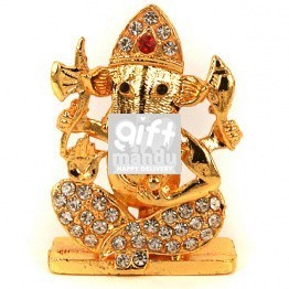 Religious Metal and Stone Studded Shree Ganesh Idol (2 inch)