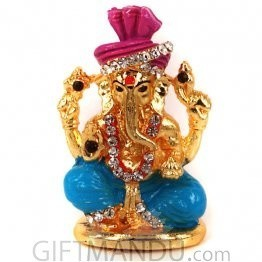 Metal Ganesh with Stones Wearing Turban (2 inch)