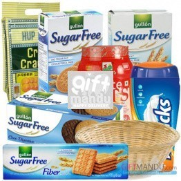 Sugar Free Gift Basket - Biscuits, Cookies, Crackers, Oats and Horlicks (7 Items)